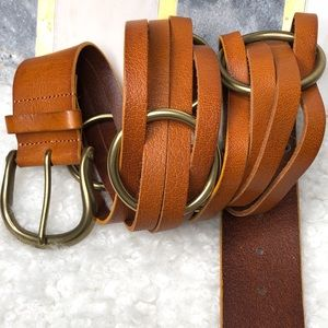 Anthropologie Linea Pelle Woven Brass Ring Belt
